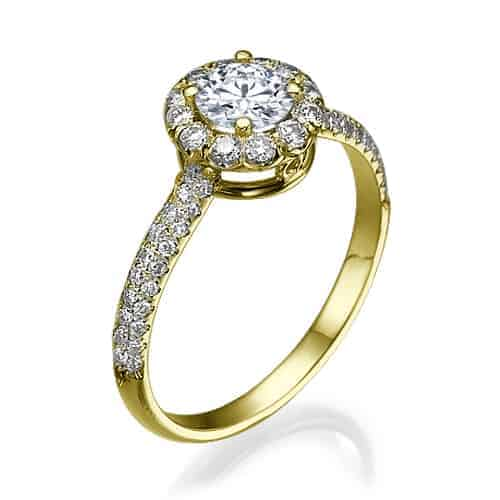 """Cameron"" - Yellow Gold Lab Grown Diamond Engagement Ring 1.01ct. - standing"