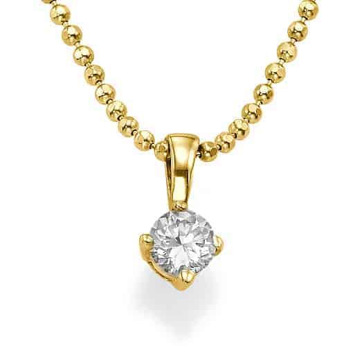 תליון שרשרת יהלומים סוליטר 2