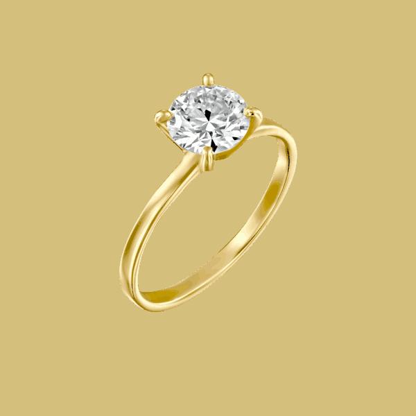 טבעת יהלום זהב צהוב 0.51 קראט D-VS2