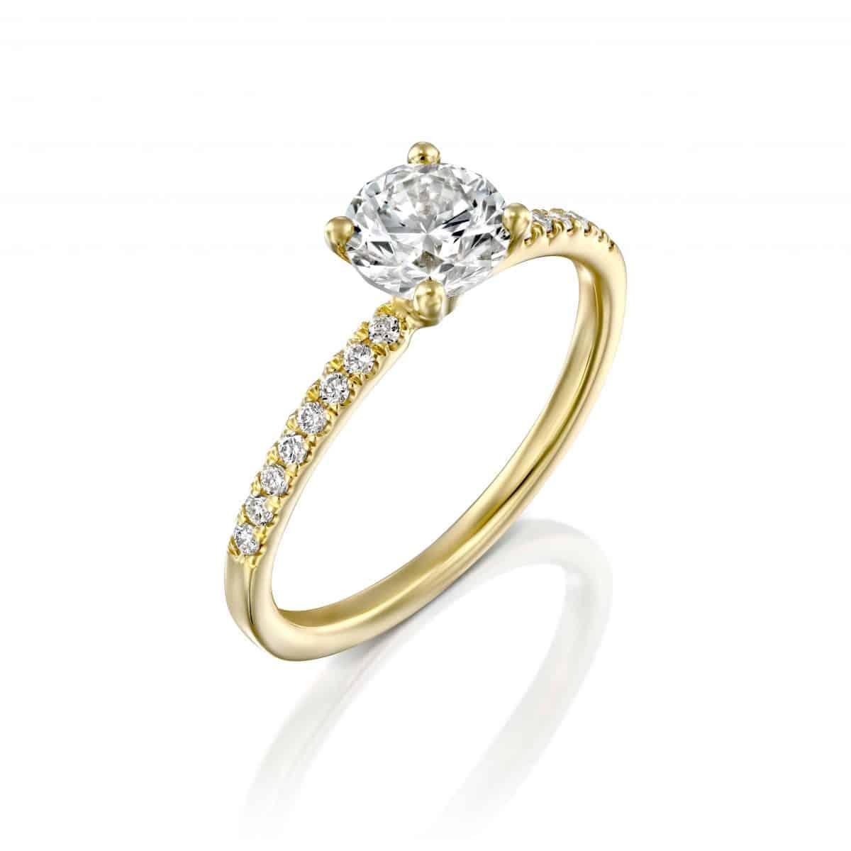 טבעת יהלומים 1 קראט בעיצוב קלאסי ועדין