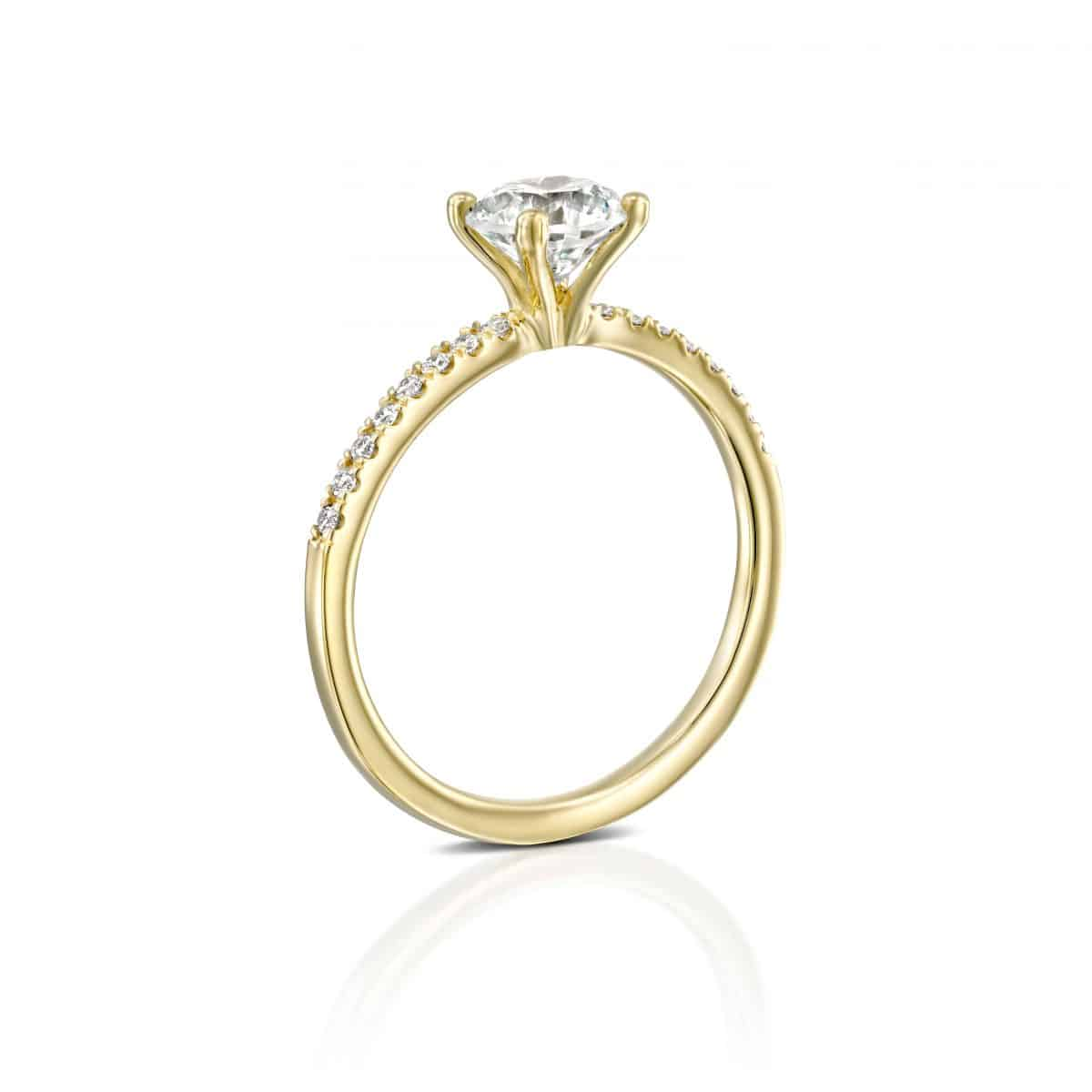 """Carol"" - White Gold Lab Grown Diamond Engagement Ring (classic & delicate design) 1.00ct. - standing"