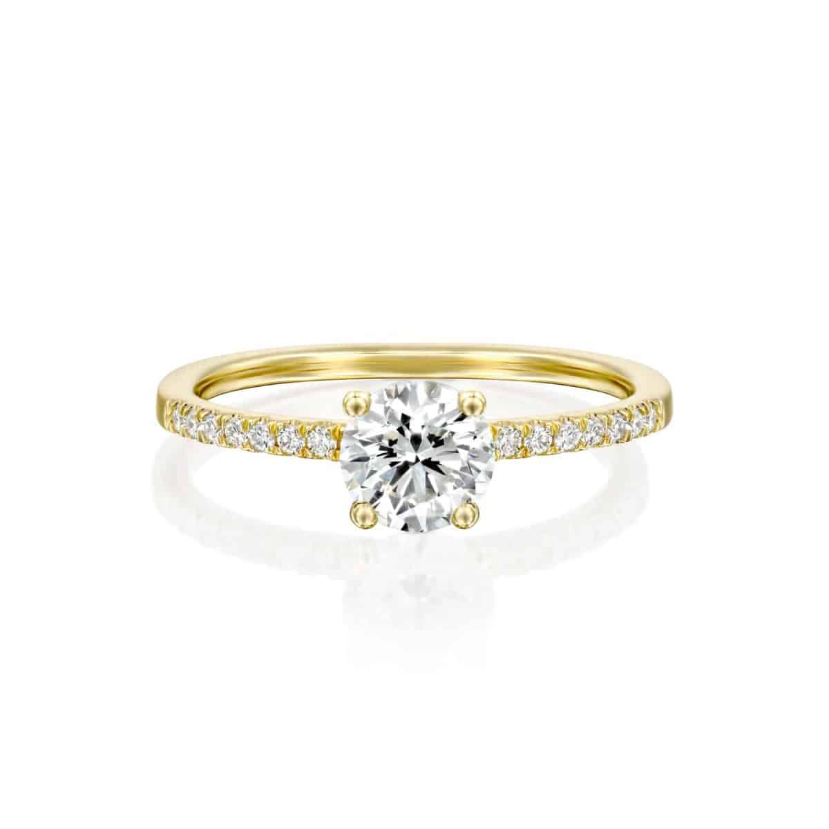 """Carol"" - White Gold Lab Grown Diamond Engagement Ring (classic & delicate design) 1.00ct. - laying"