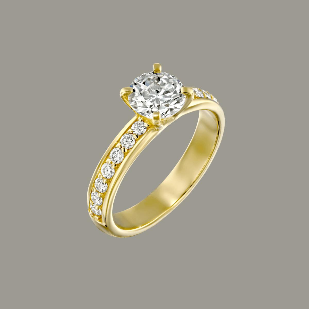 טבעת יהלומים לורן מזהב צהוב 1.21 קראט D-VS2