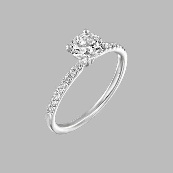 טבעת יהלומים 1 קראט קרול בעיצוב יוקרתי מזהב לבן