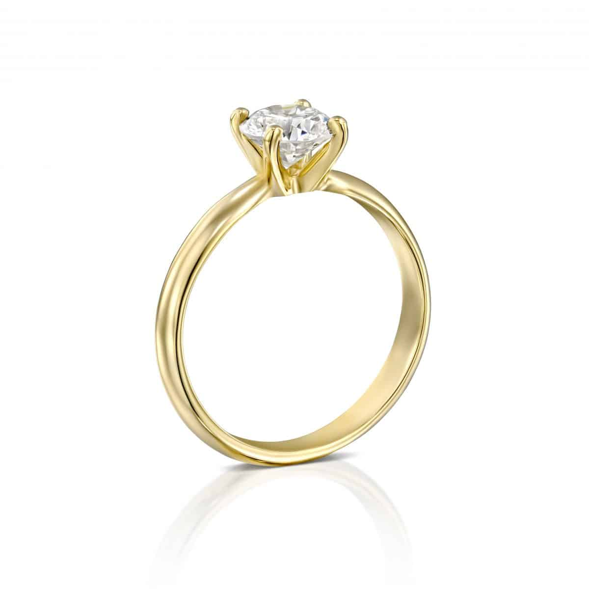 """Brenda"" - Yellow Gold Solitaire Lab Grown Diamond Engagement Ring 0.31ct. - standing"