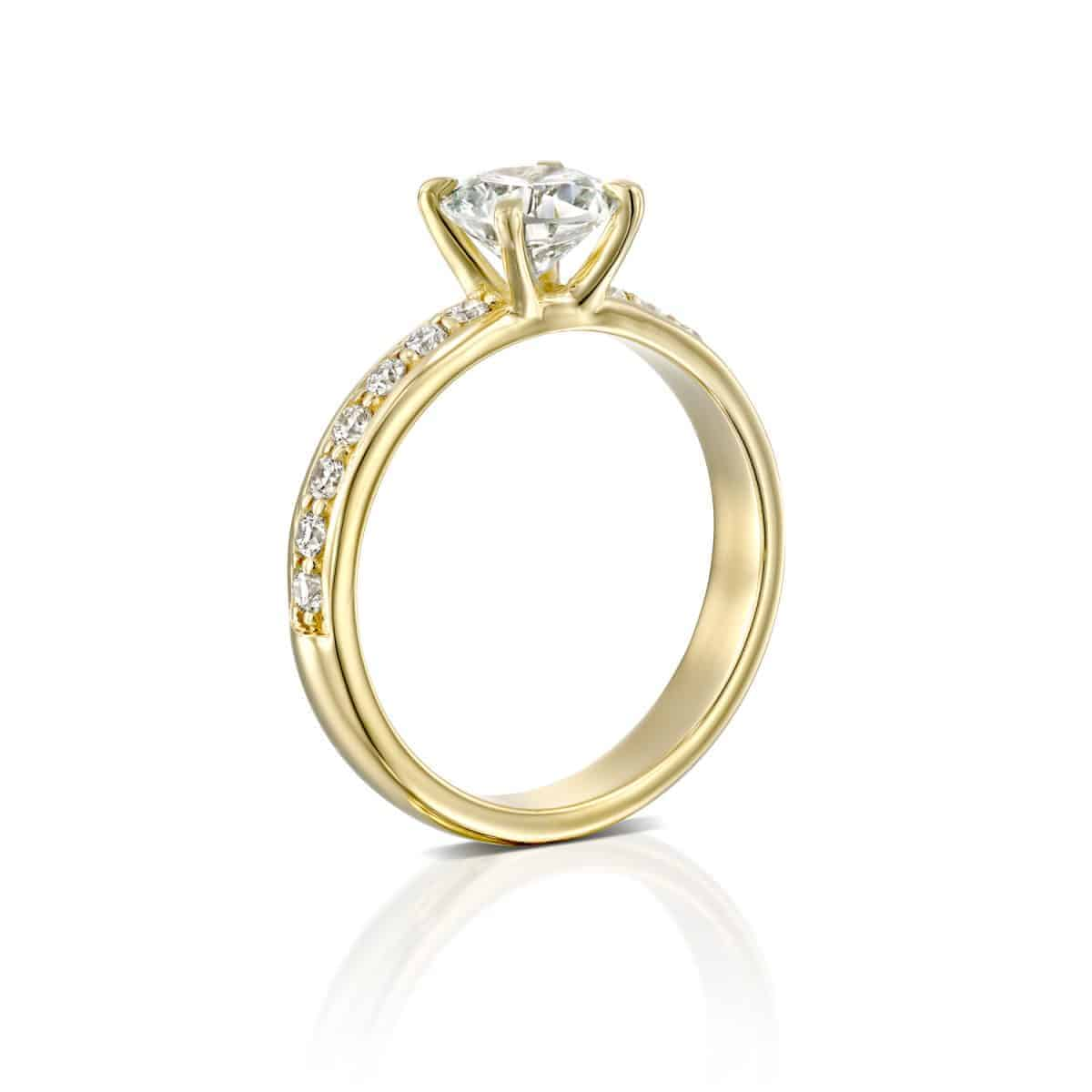 """Lauren"" - Yellow Gold Lab Grown Diamond Engagement Ring 1.21ct. - standing"