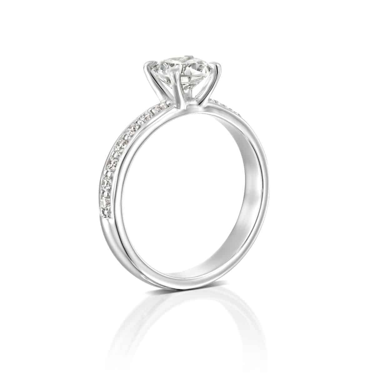 """Lauren"" - White Gold Lab Grown Diamond Engagement Ring 1.71ct. - standing"