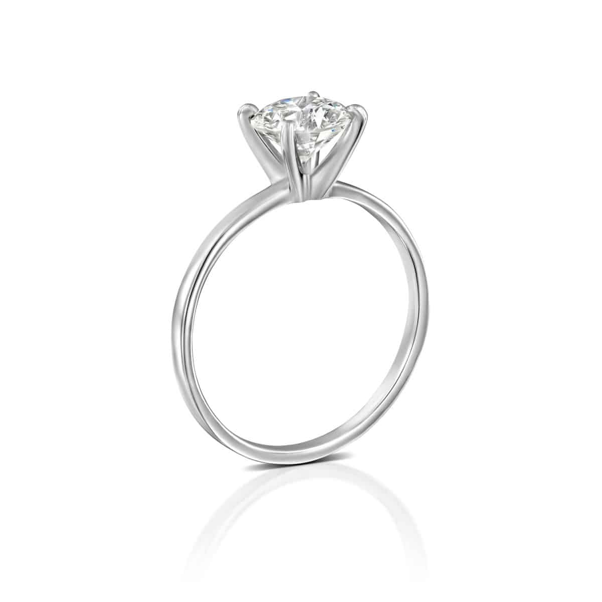 """Anna"" - White Gold Solitaire Lab Grown Diamond Engagement Ring 0. - standing"