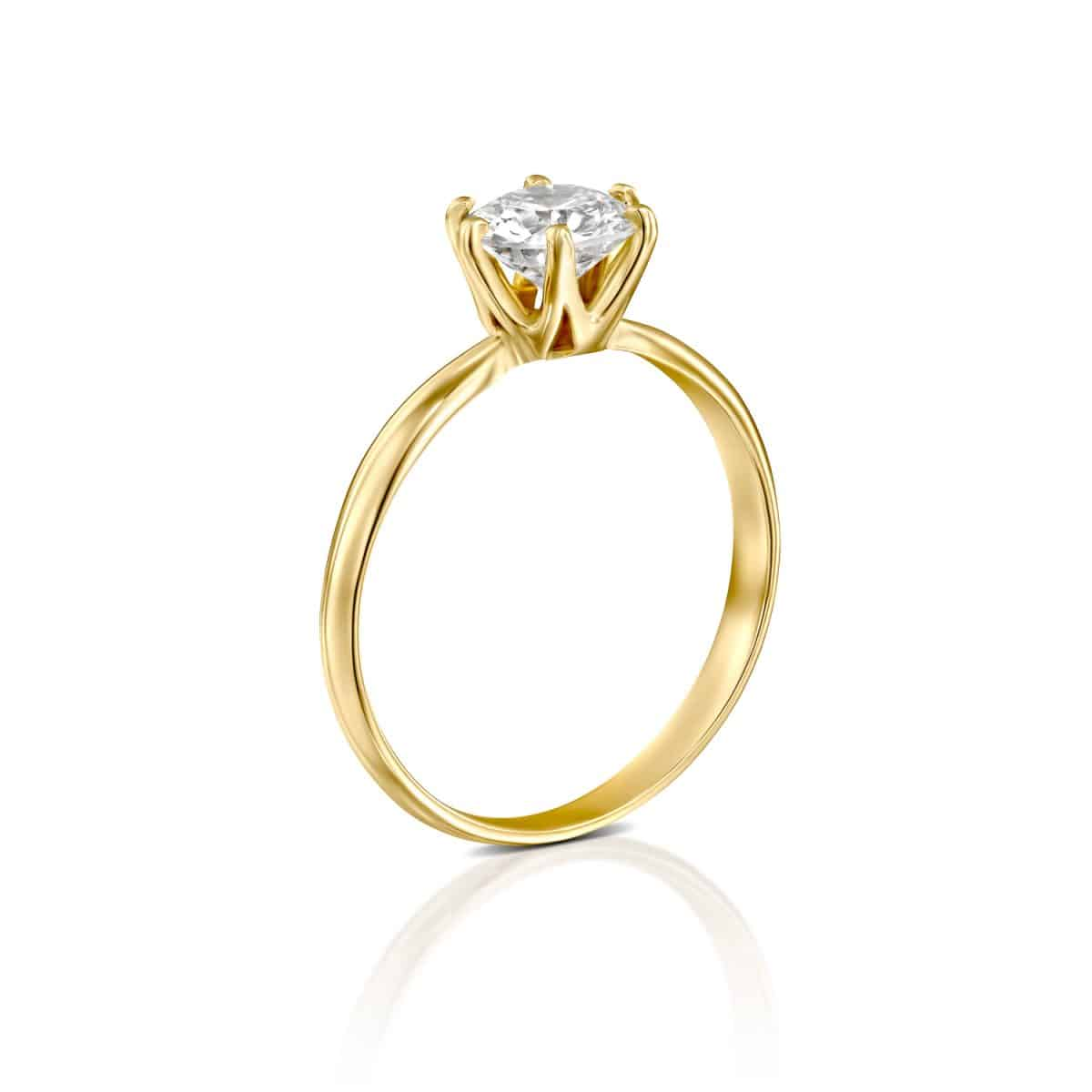 """Claire"" - Yellow Gold Lab Grown Diamond Engagement Ring 1.01ct. - standing"