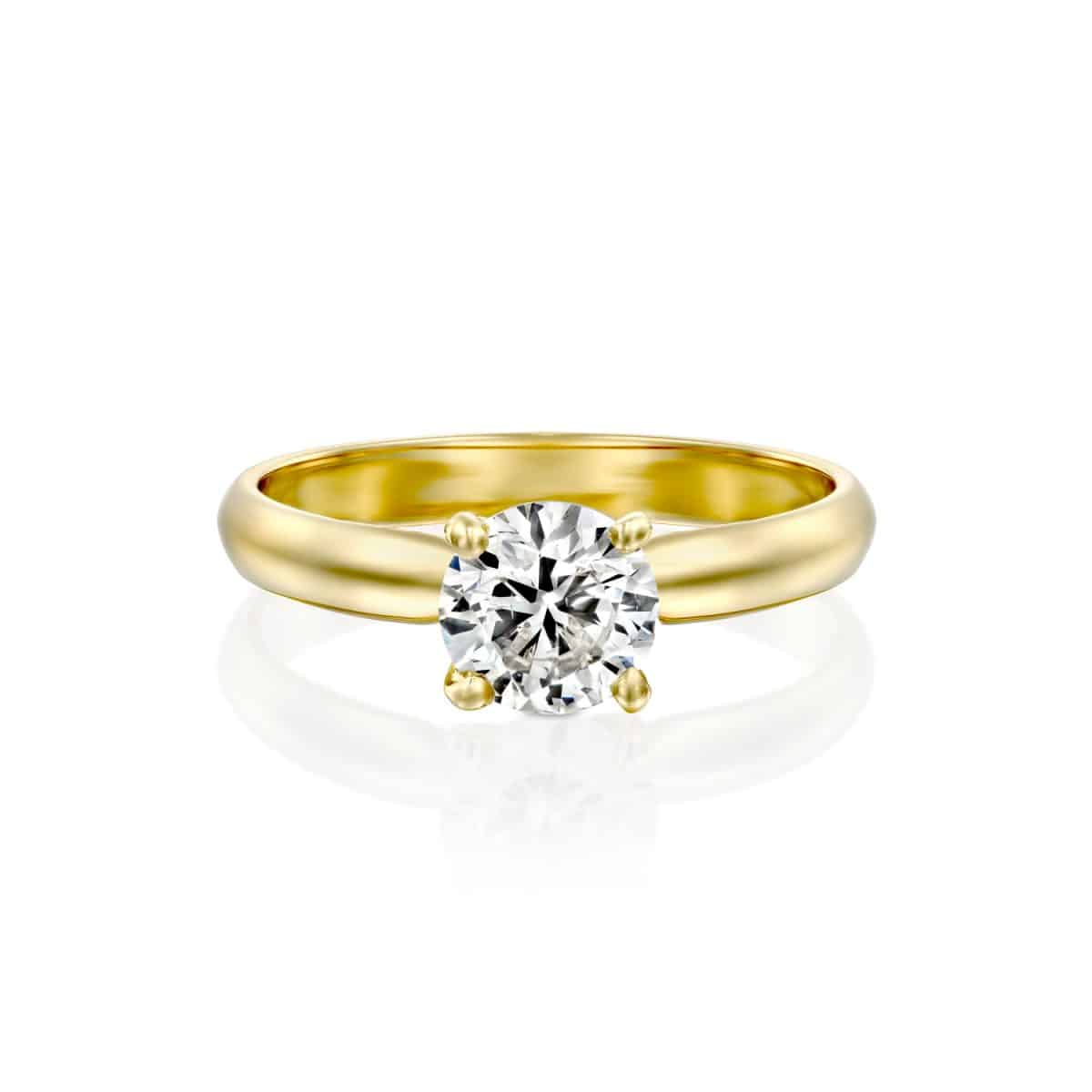 """Brenda"" - Yellow Gold Solitaire Lab Grown Diamond Engagement Ring 0.31ct. - laying"