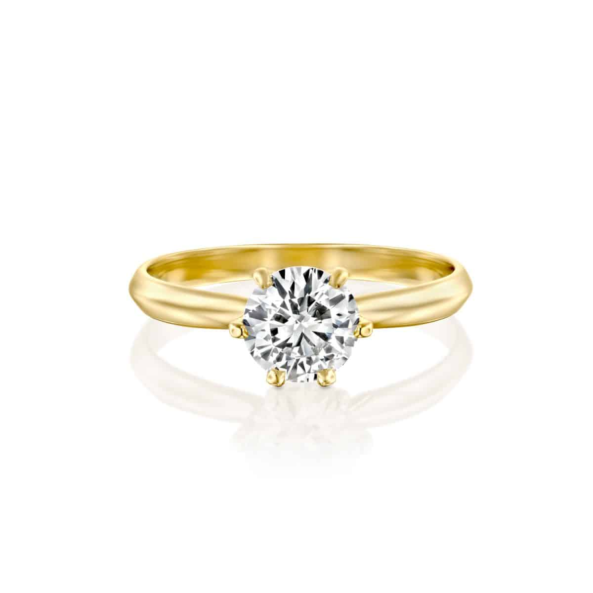 """Claire"" - Yellow Gold Lab Grown Diamond Engagement Ring 1.01ct. - laying"