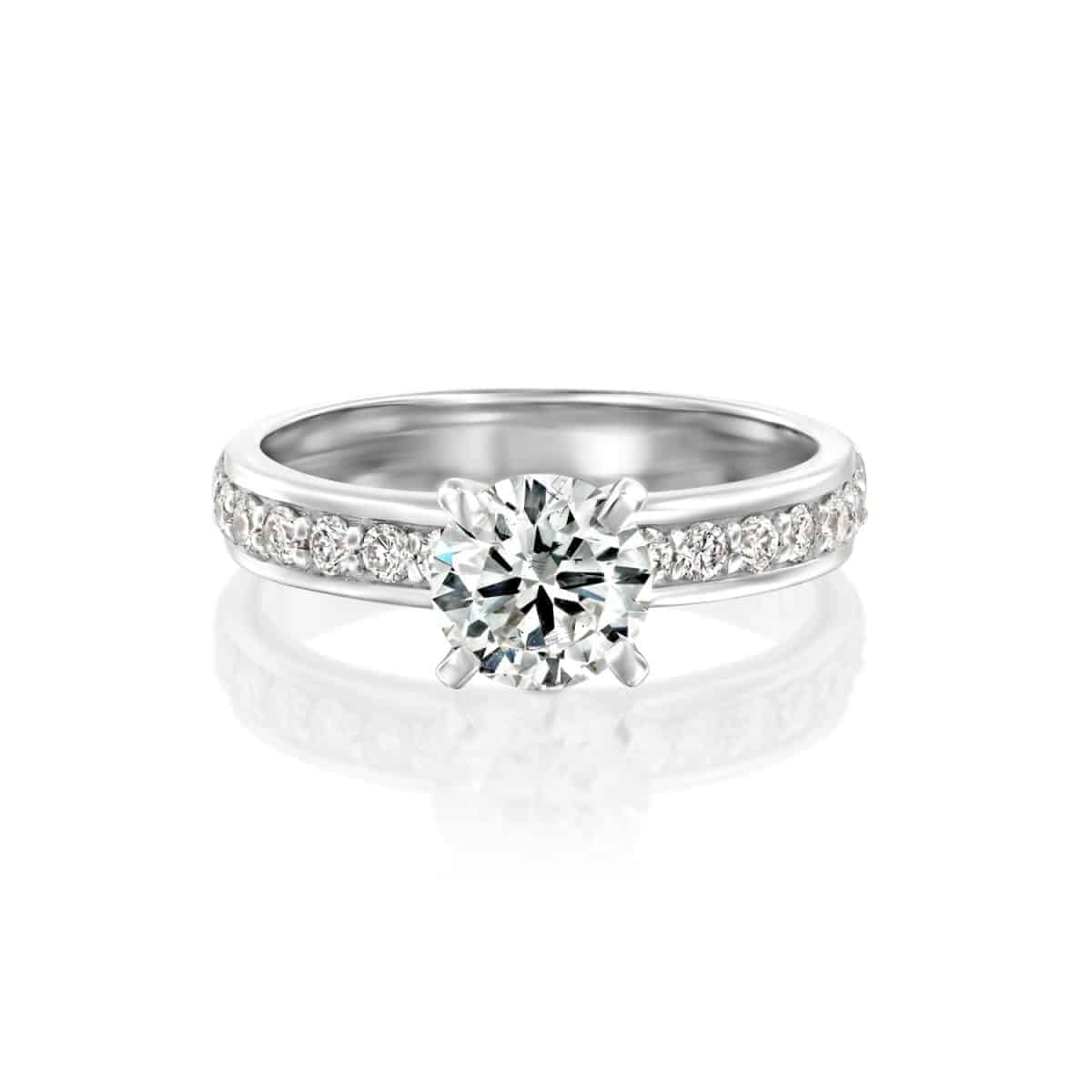 """Lauren"" - White Gold Lab Grown Diamond Engagement Ring 1.71ct. - laying"