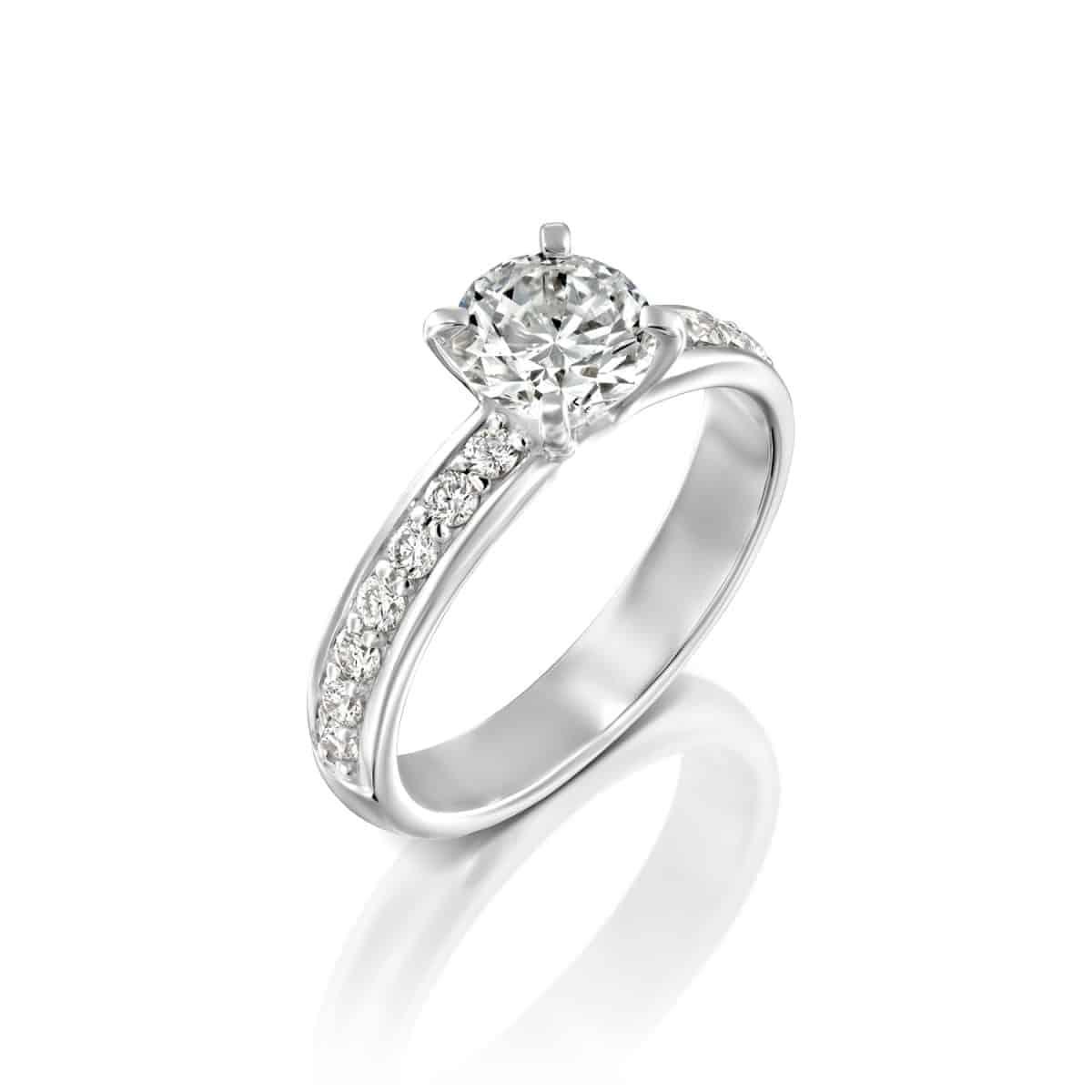 """טבעת """"לורן"""" זהב לבן 1.71 קראט D-VS2"""