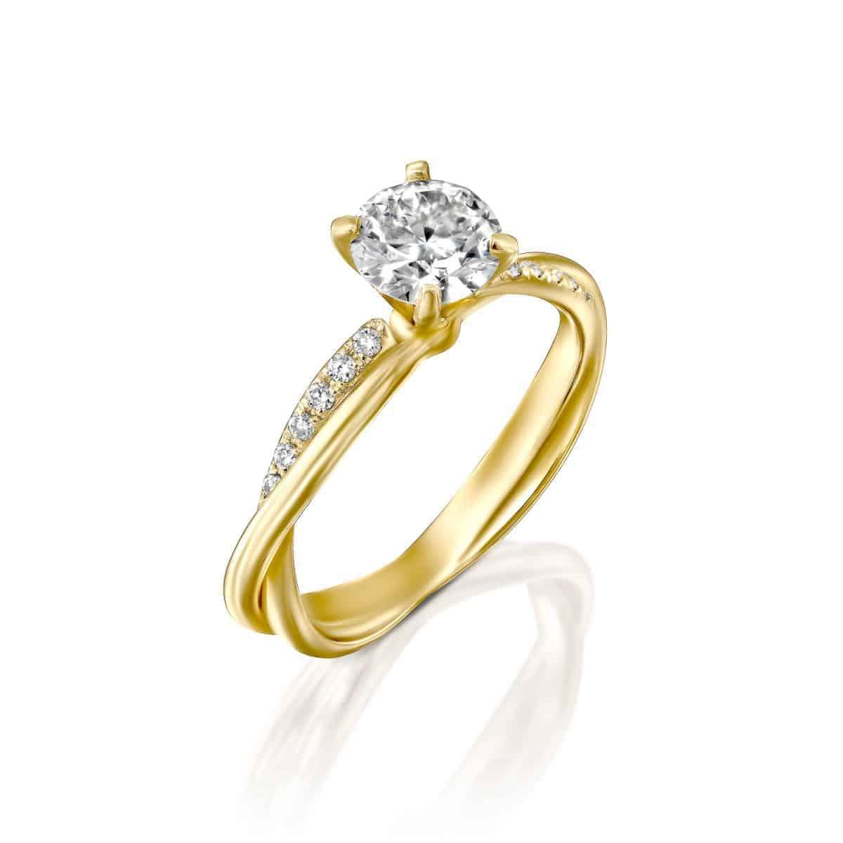 טבעת אירוסין טוויסט - ונ זהב צהוב 1