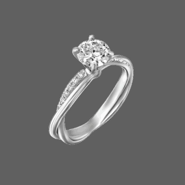 טבעת יהלומים טוויסט מוניק מזהב לבן 0.61 קראט