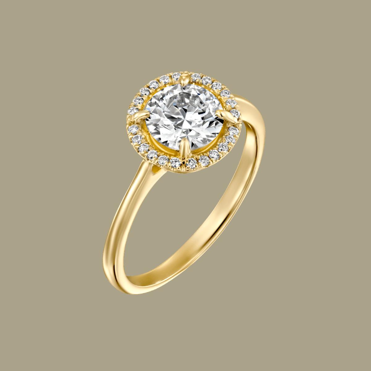 """Lisa"" - Yellow Gold Lab Grown Diamond Engagement Ring 1.31ct. - main"