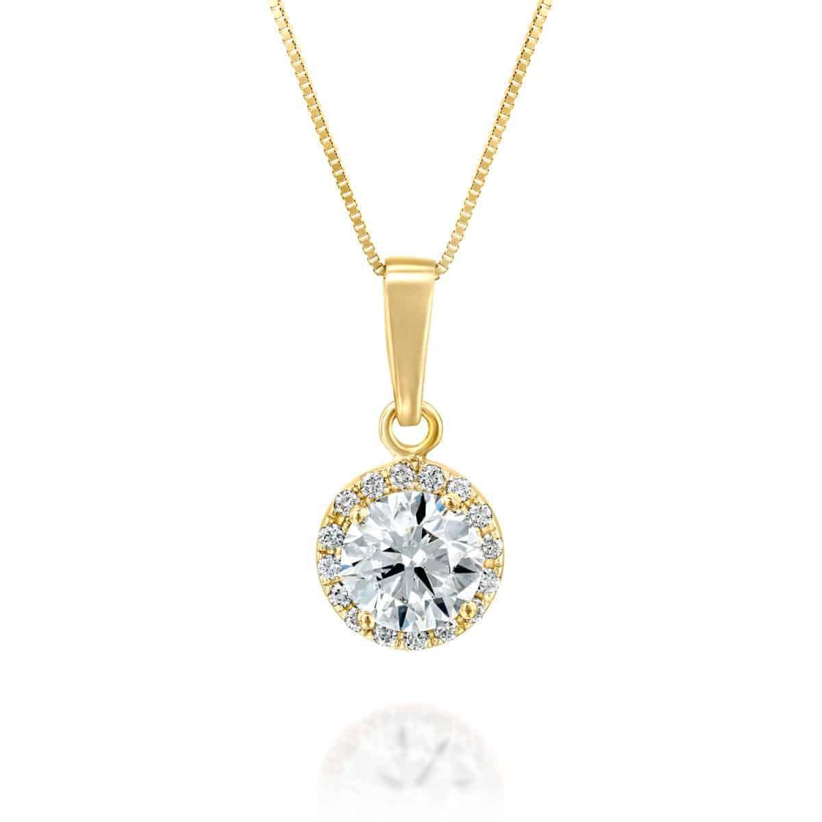שרשרת יהלום זהב צהוב היילו 1