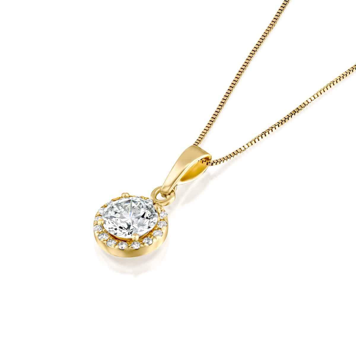 שרשרת יהלום זהב צהוב היילו 2