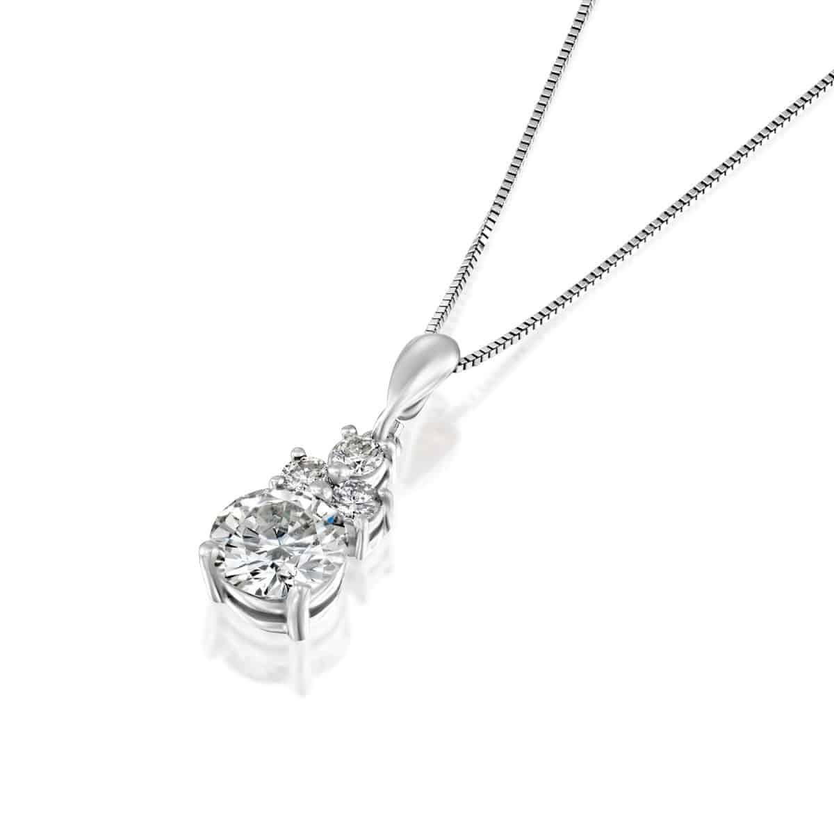שרשרת יהלום משובצת זהב לבן 2