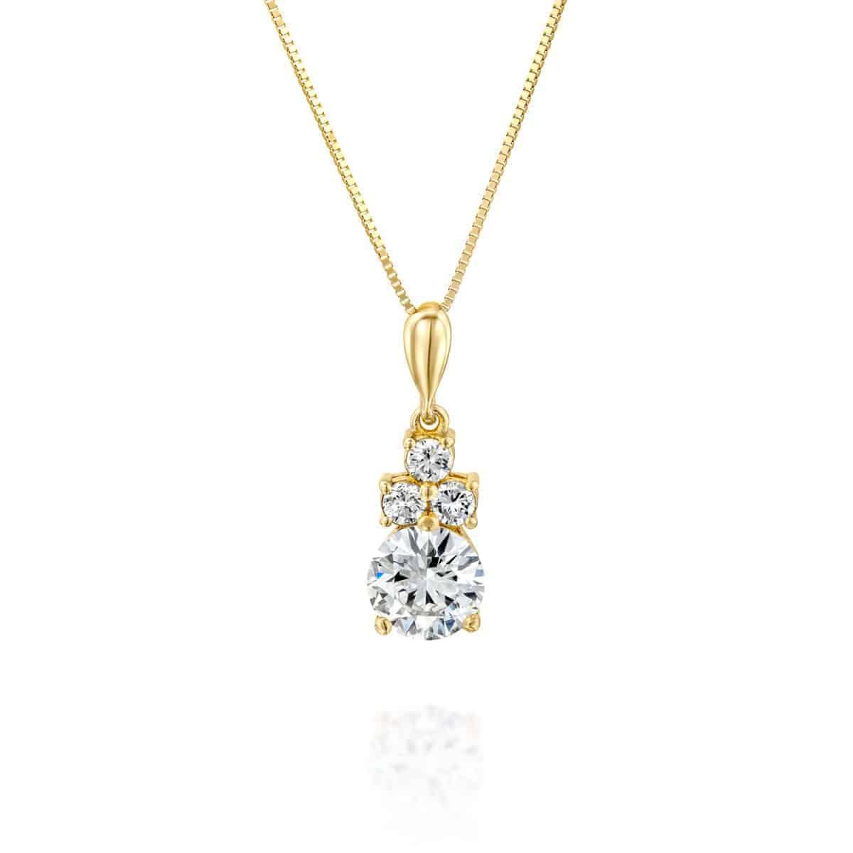 שרשרת יהלום משובצת זהב צהוב 1