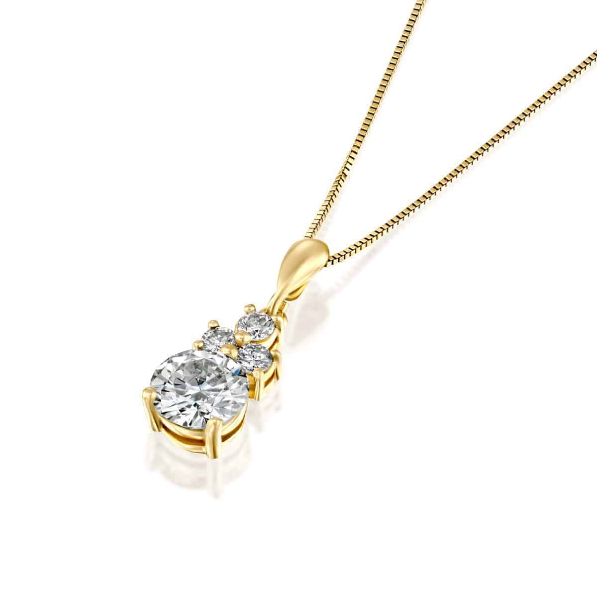 שרשרת יהלום משובצת זהב צהוב 2