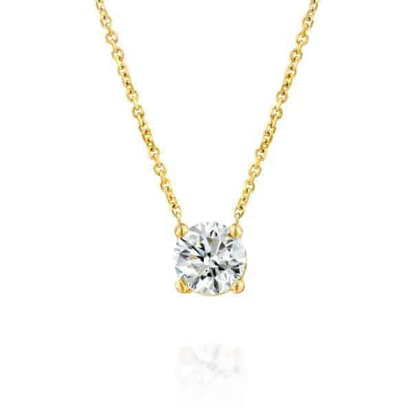 שרשרת יהלום סוליטר 1 קראט זהב צהוב 1