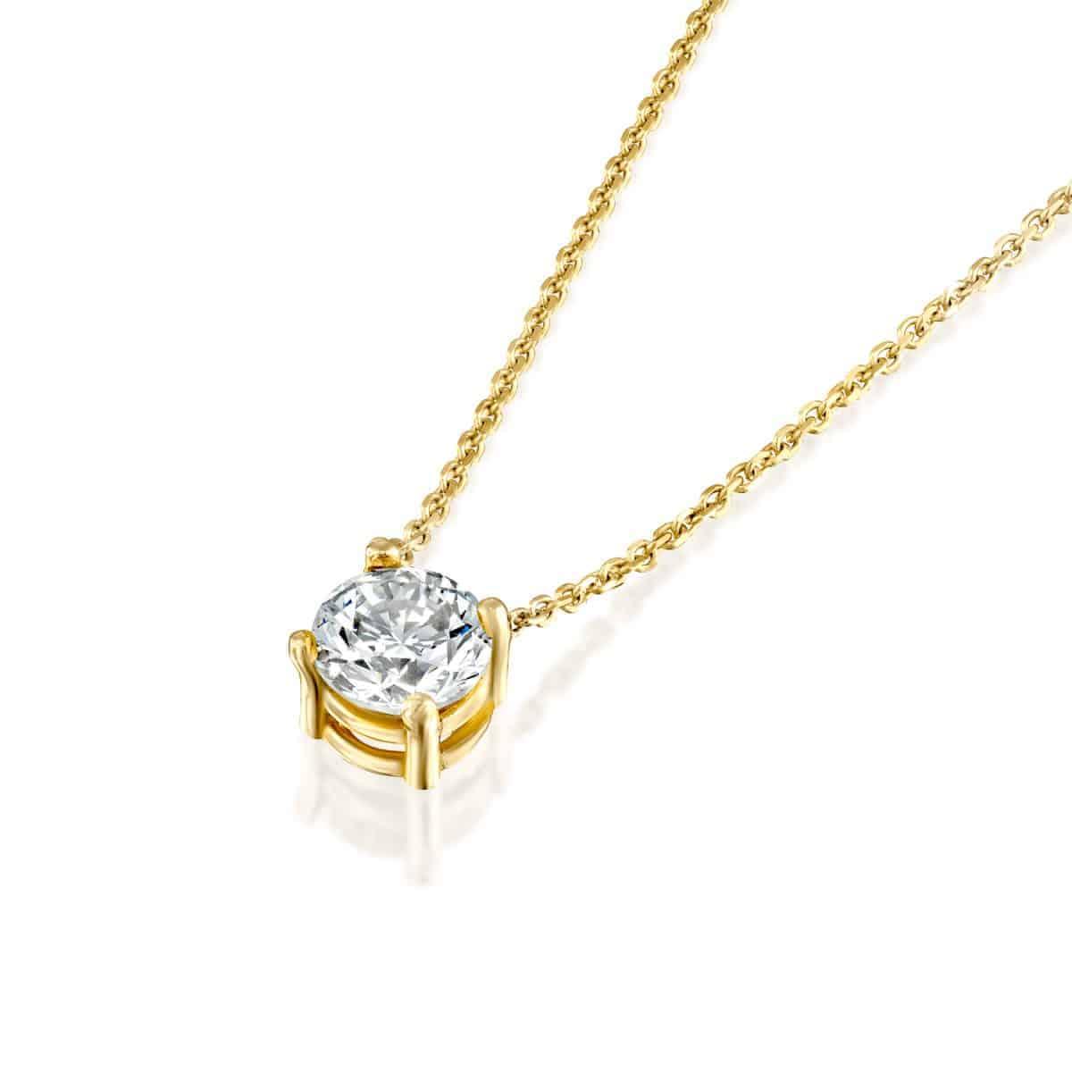 שרשרת יהלום סוליטר 1 קראט זהב צהוב 2