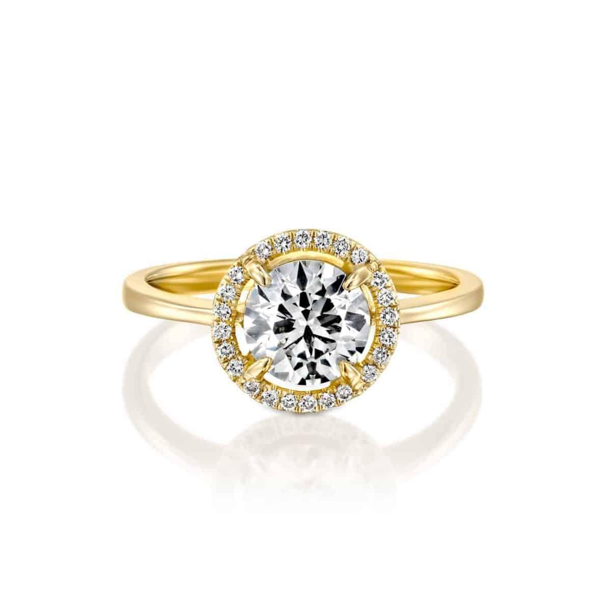 Lisa - Yellow Gold Lab Grown Diamond Engagement Ring 1.31ct. - laying