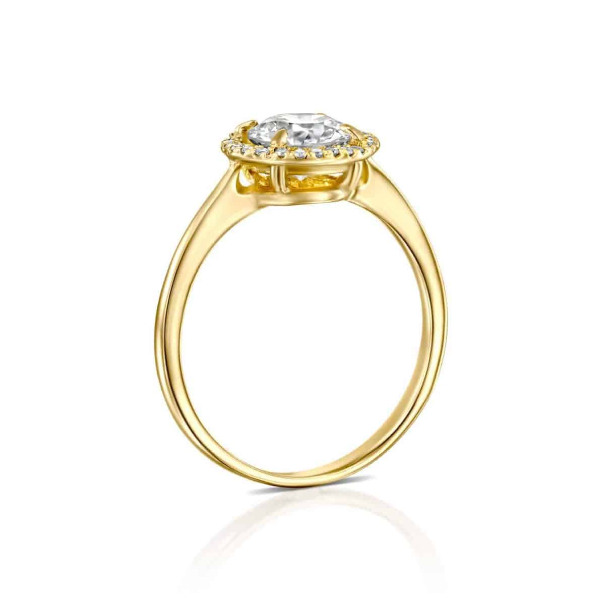 Lisa - Yellow Gold Lab Grown Diamond Engagement Ring 1.31ct. - standing