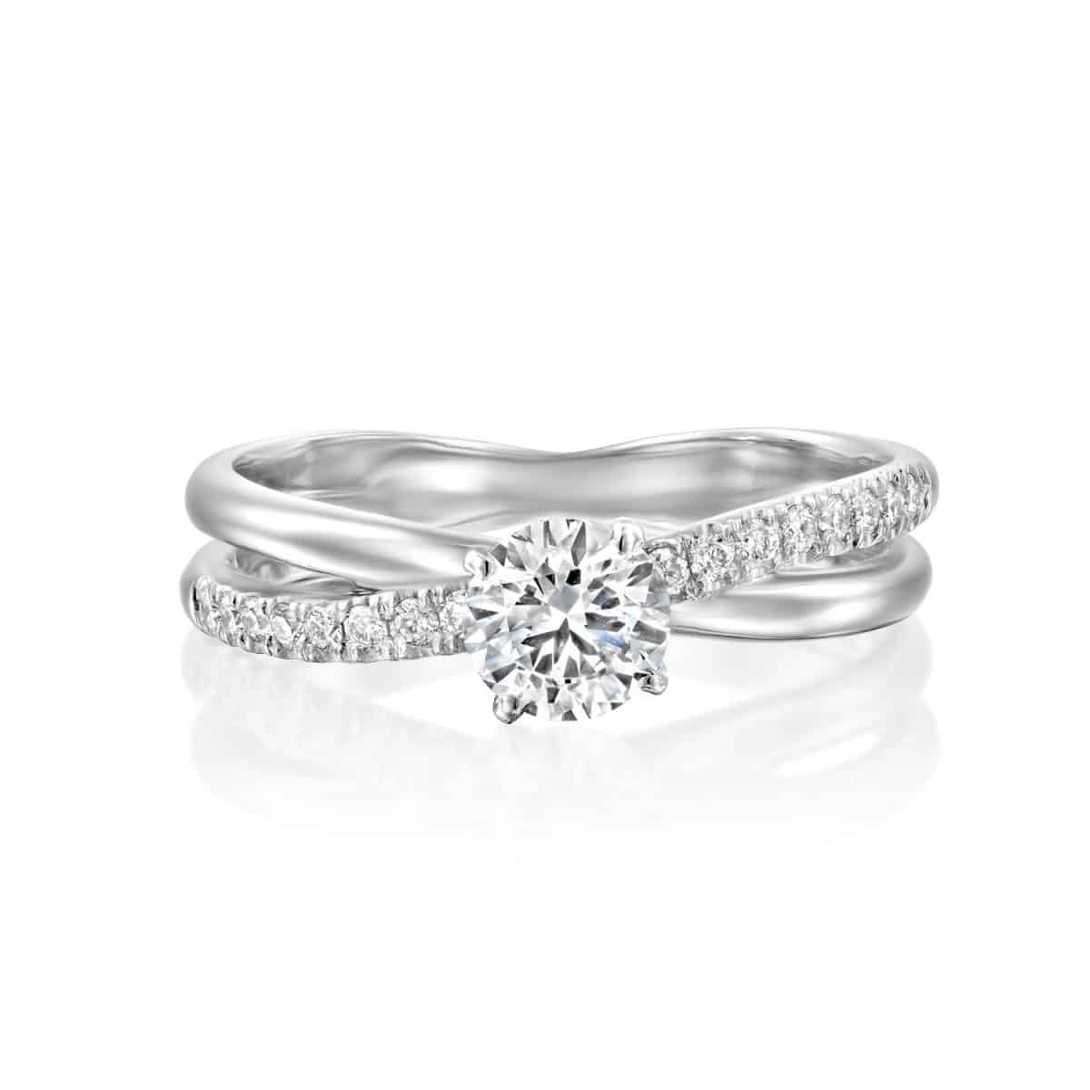 Monique - Twist White Gold Lab Grown Diamond Engagement Ring 0.61ct. - laying