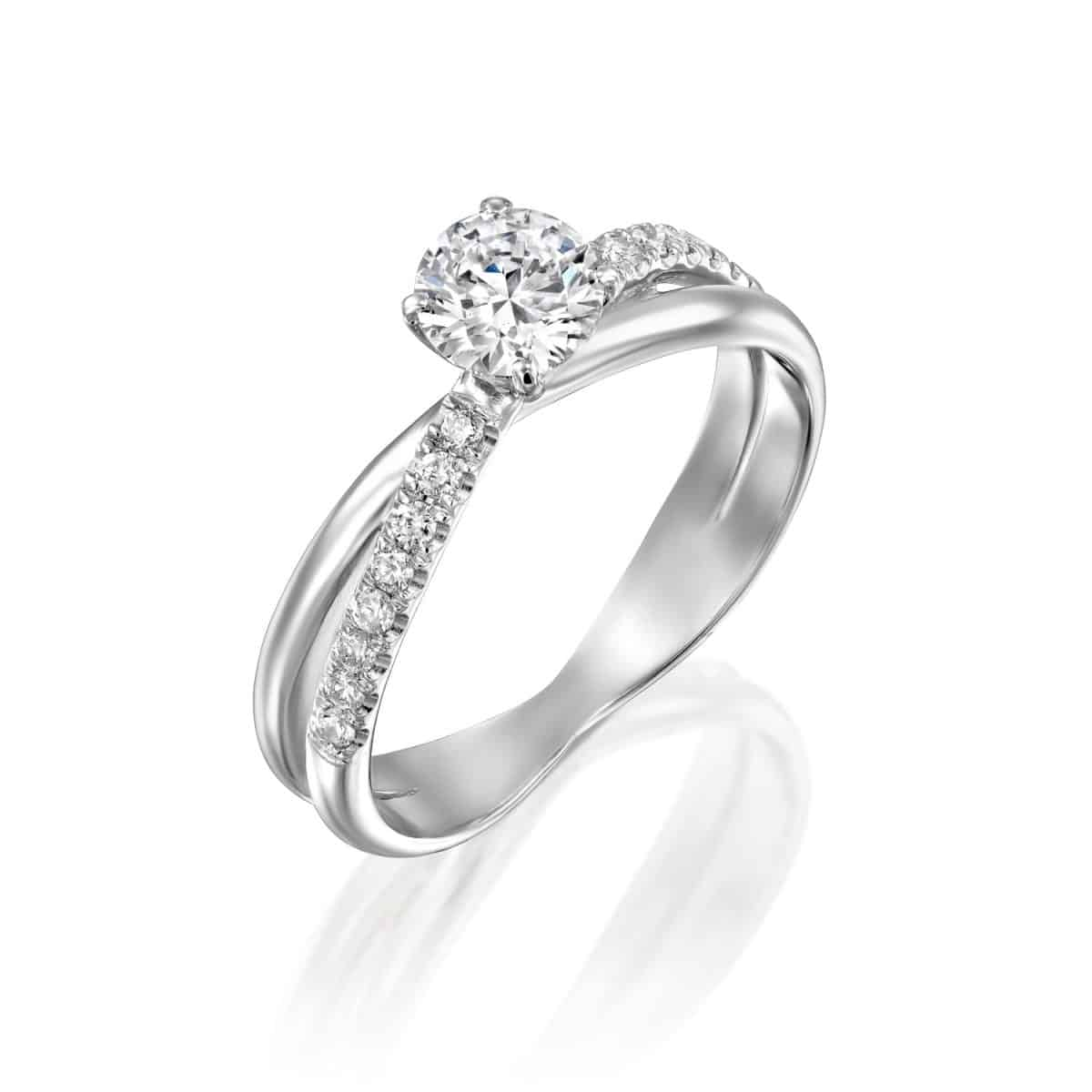 Monique - Twist White Gold Lab Grown Diamond Engagement Ring 0.61ct. - main