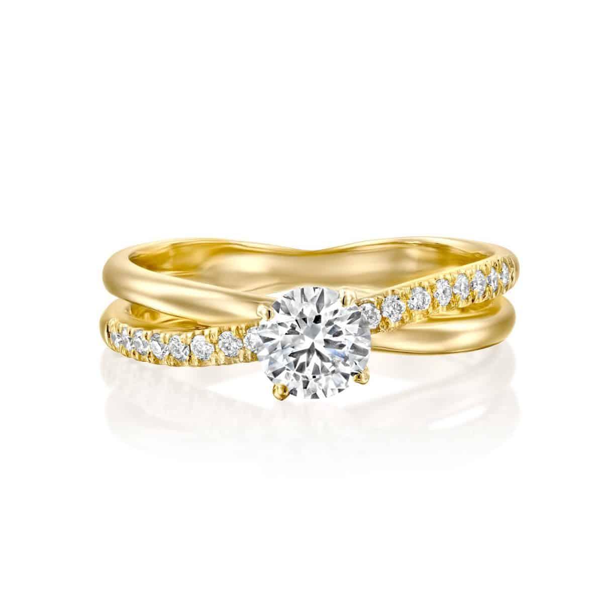 Monique - Twist Yellow Gold Lab Grown Diamond Engagement Ring 0.41ct. - laying