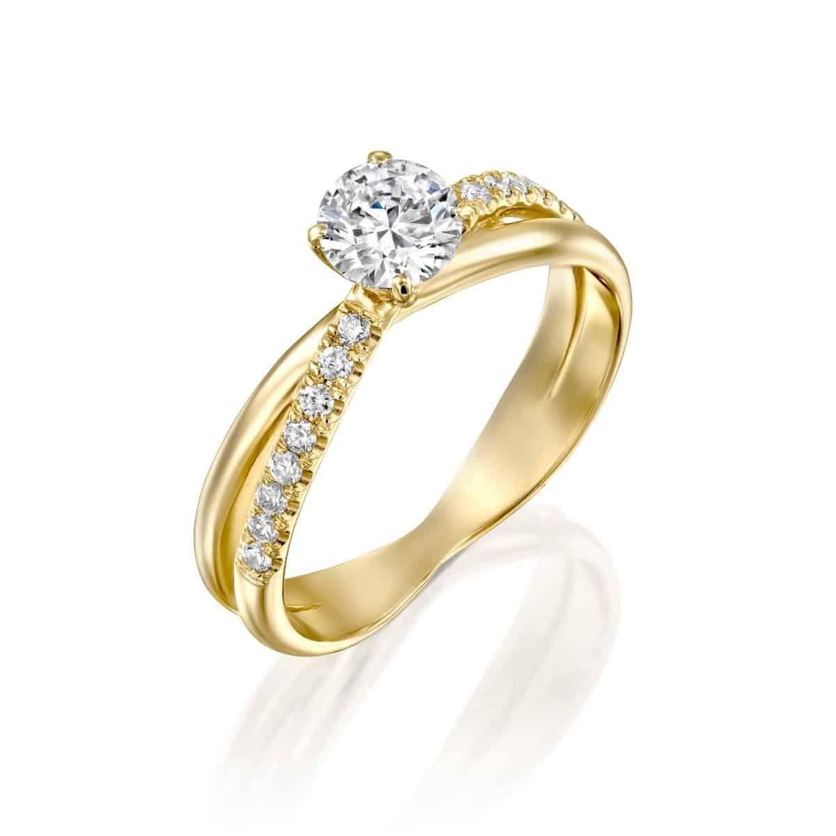 Monique - Twist Yellow Gold Lab Grown Diamond Engagement Ring 0.41ct. - main