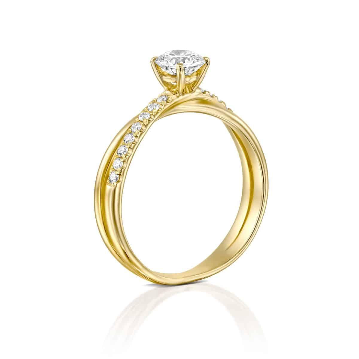 Monique - Twist Yellow Gold Lab Grown Diamond Engagement Ring 0.41ct. - standing