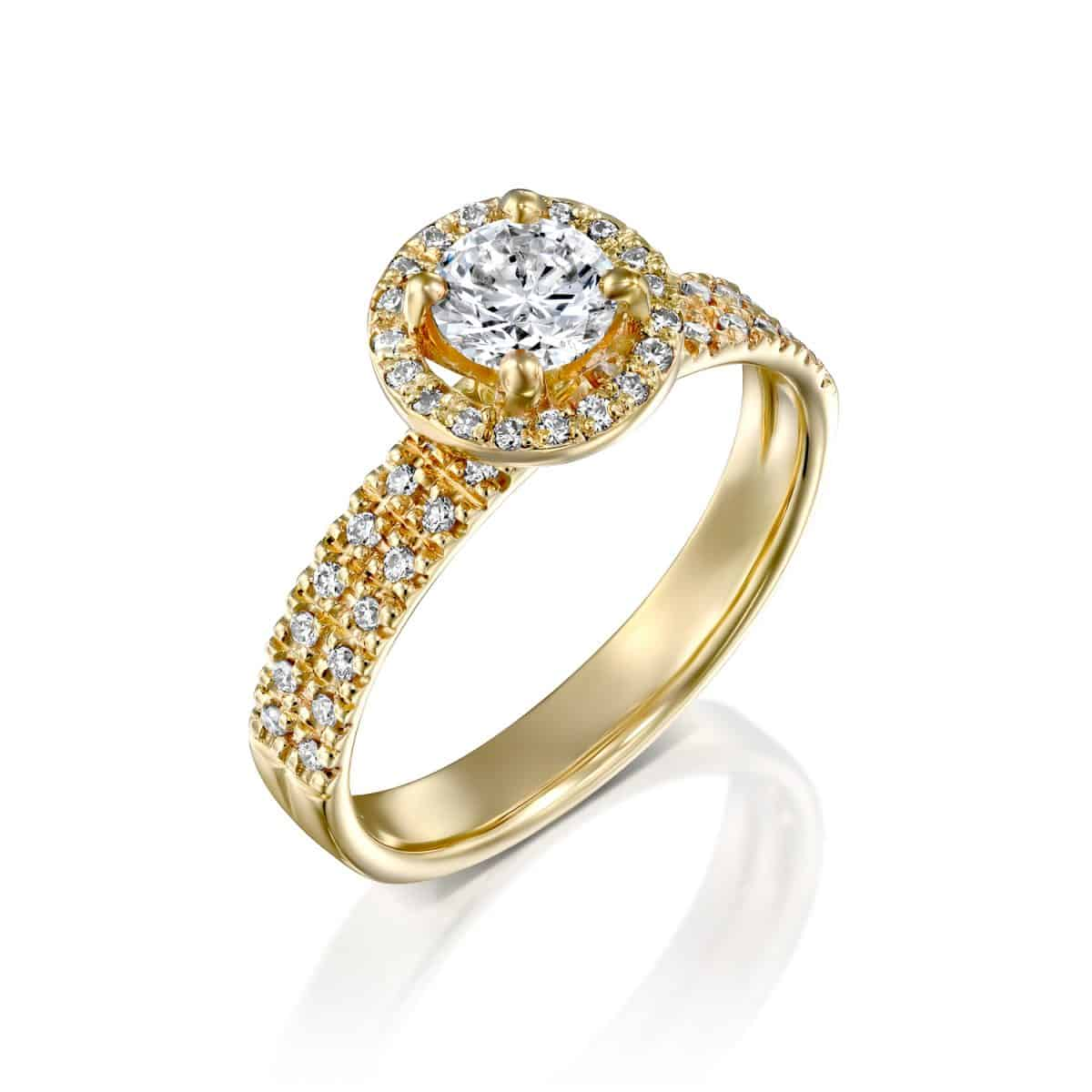 """Venesa"" - Yellow Gold Double Band Lab Grown Diamond Engagement Ring 0.91ct. - main"