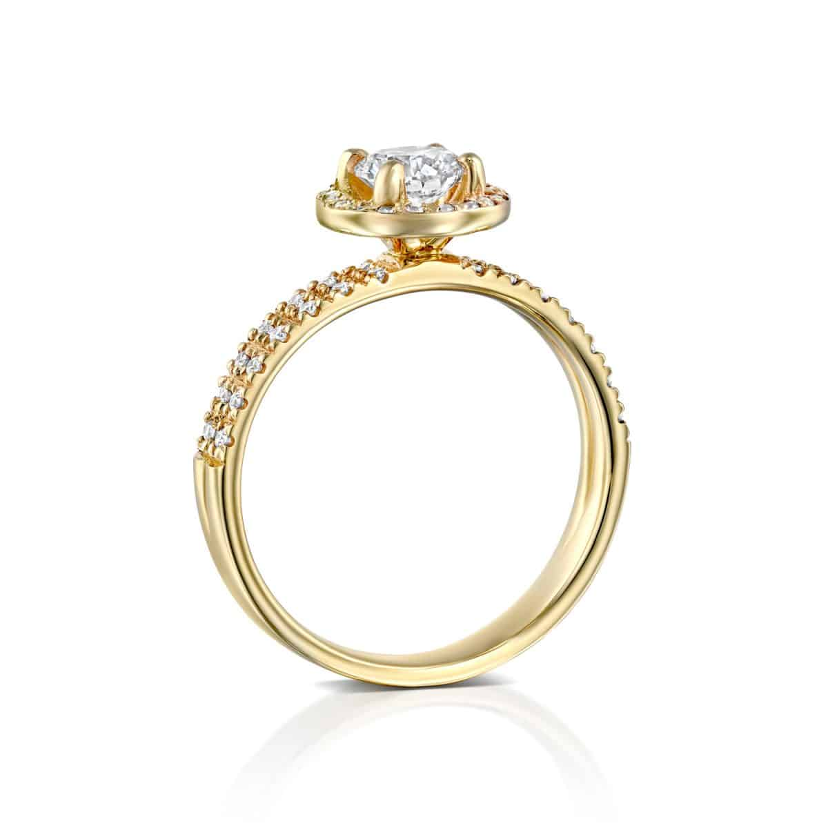 """Venesa"" - Yellow Gold Double Band Lab Grown Diamond Engagement Ring 0.91ct. - standing"