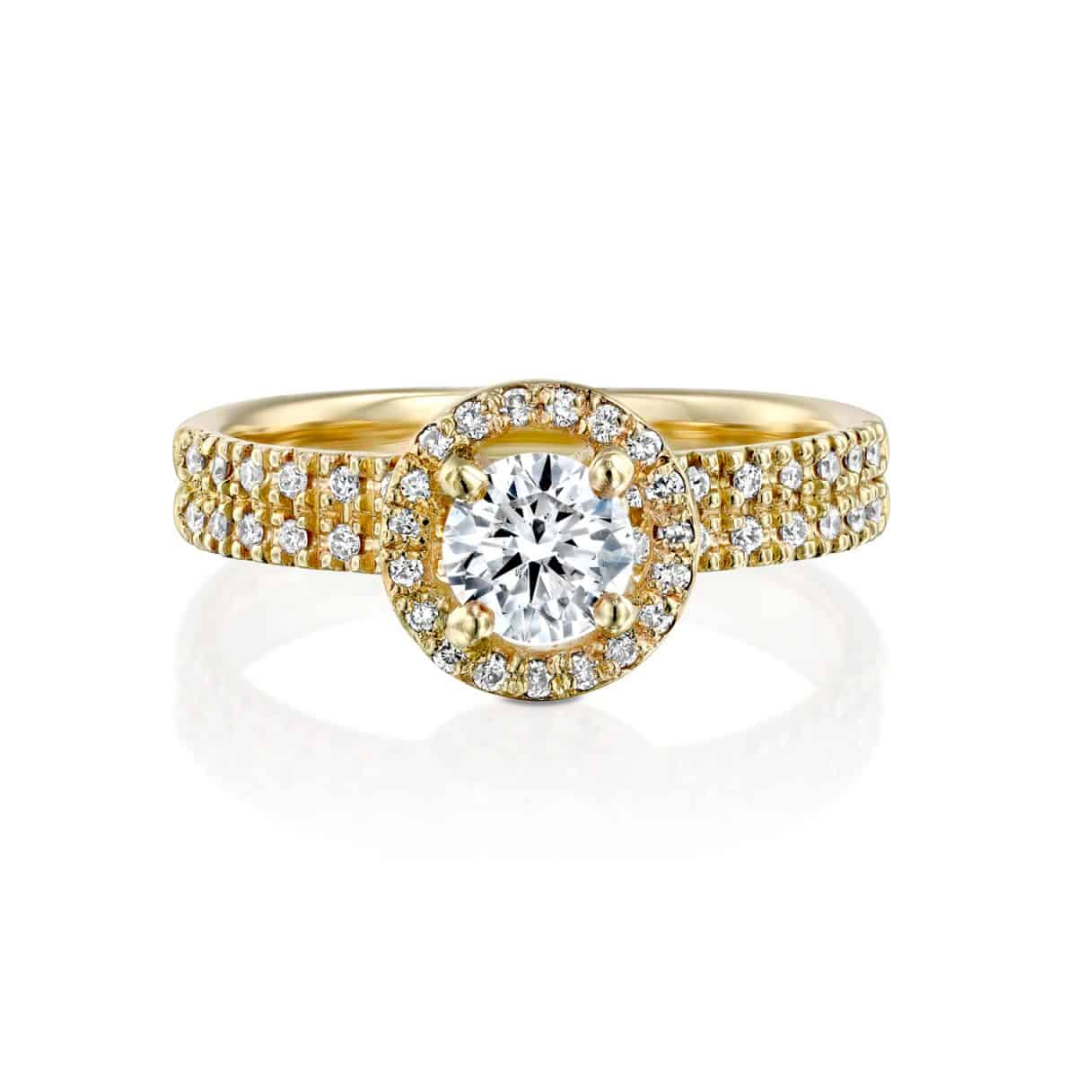 """Venesa"" - Yellow Gold Double Band Lab Grown Diamond Engagement Ring 0.91ct. - laying"