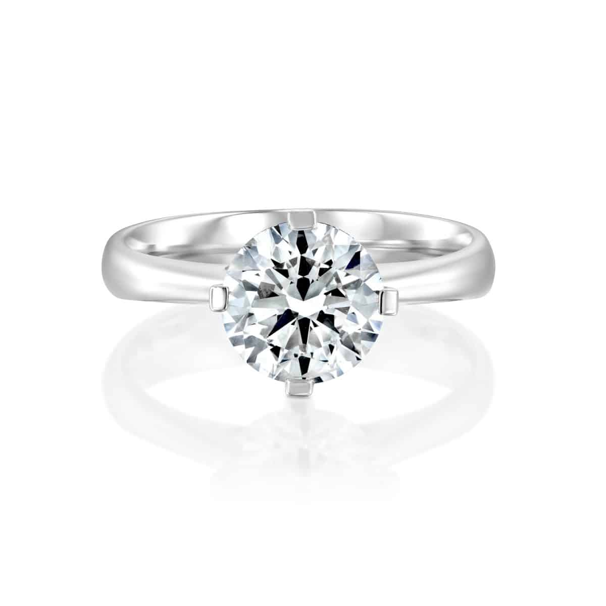 """Mary"" - Solitaire Lab Grown Diamond Engagement Ring 1.51ct. - laying"