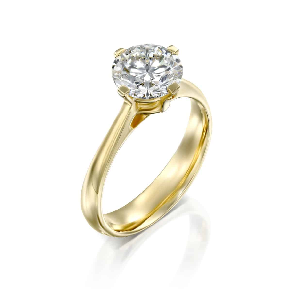 """Mary"" - Yellow Gold Lab Grown Diamond Engagement Ring 2.01ct. - main"