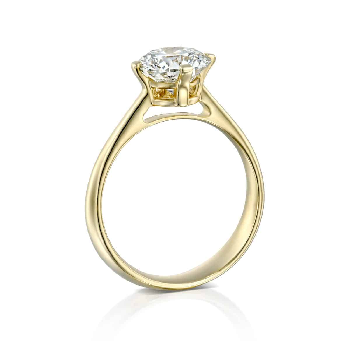 """Mary"" - Yellow Gold Lab Grown Diamond Engagement Ring 2.01ct. - standing"