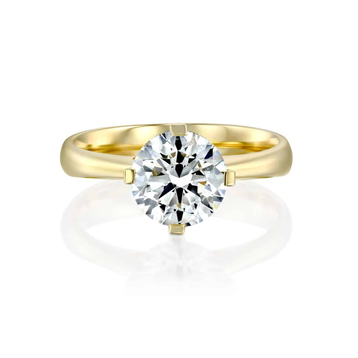 """Mary"" - Yellow Gold Lab Grown Diamond Engagement Ring 2.01ct. - laying"