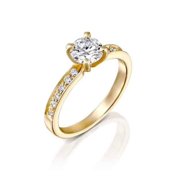 """טבעת אירוסין """"לנה"""" 1.10 קראט זהב צהוב"""
