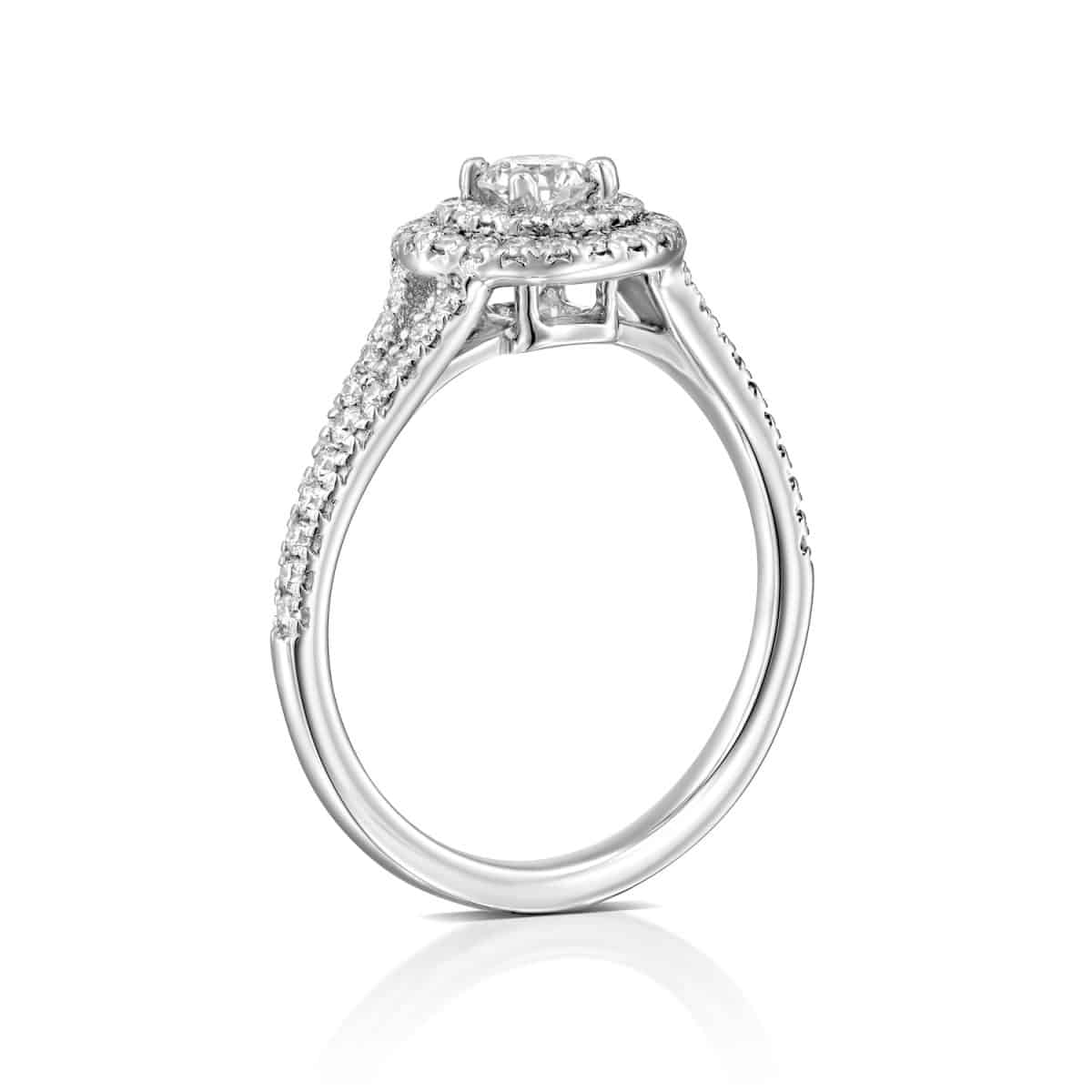 """Halo"" - White Gold Lab Grown Diamond Ring 0.75ct. - standing"