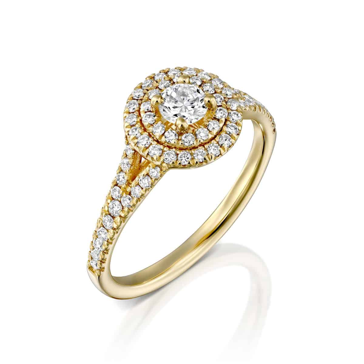 """Halo"" - Yellow Gold Lab Grown Diamond Engagement Ring 0.75ct. - main"