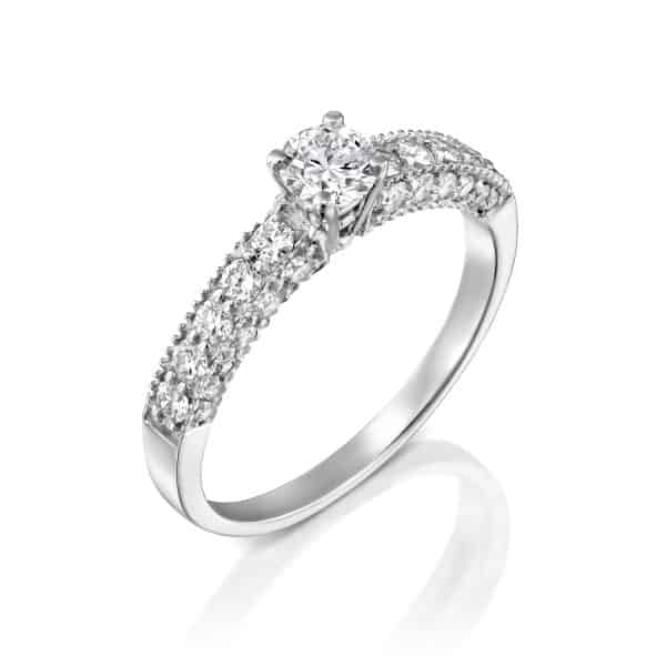 """Vintage"" - White Gold Lab Grown Diamond Ring 0.80ct. - main"