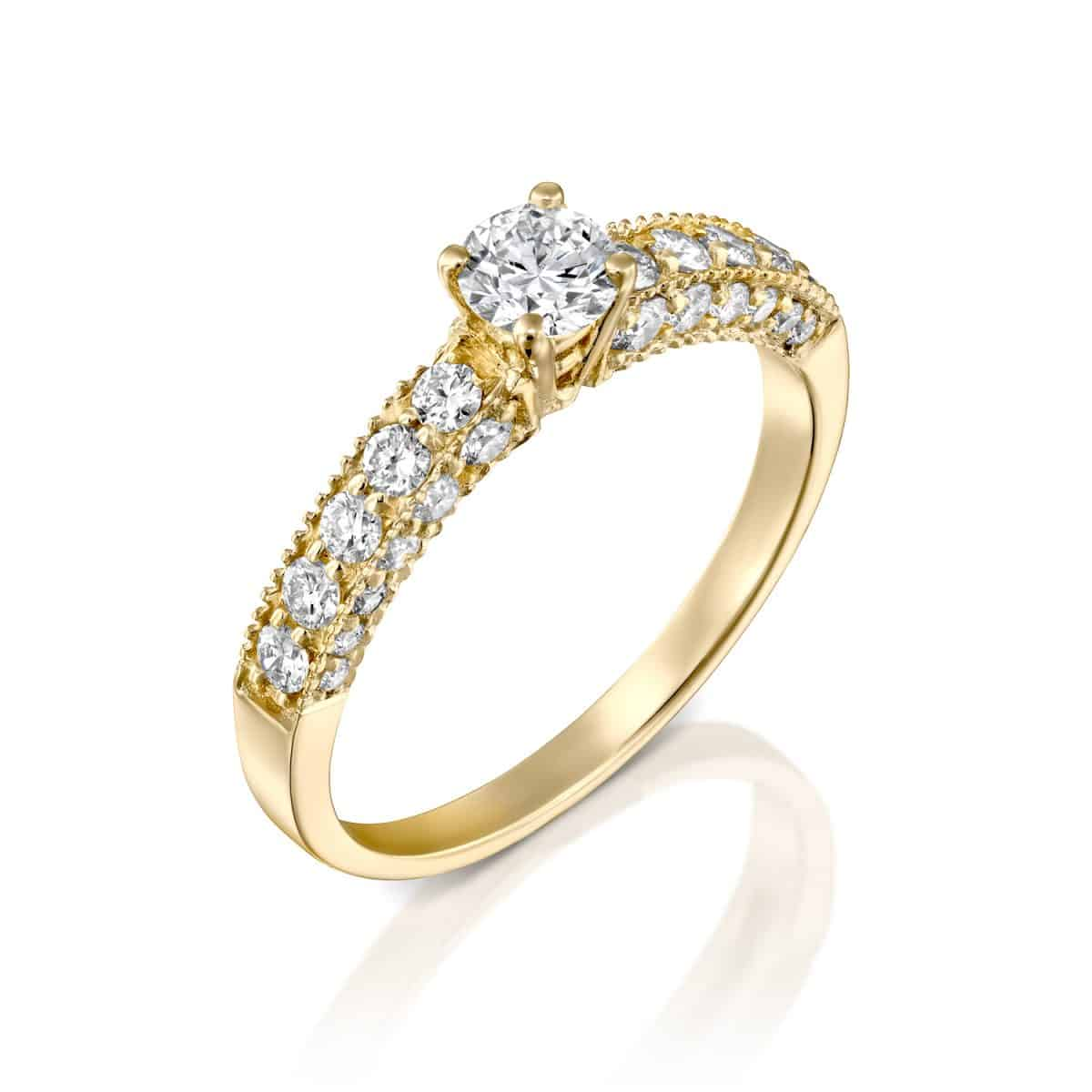 """Vintage"" - Yellow Gold Lab Grown Diamond Engagement Ring 0.90ct. - main"