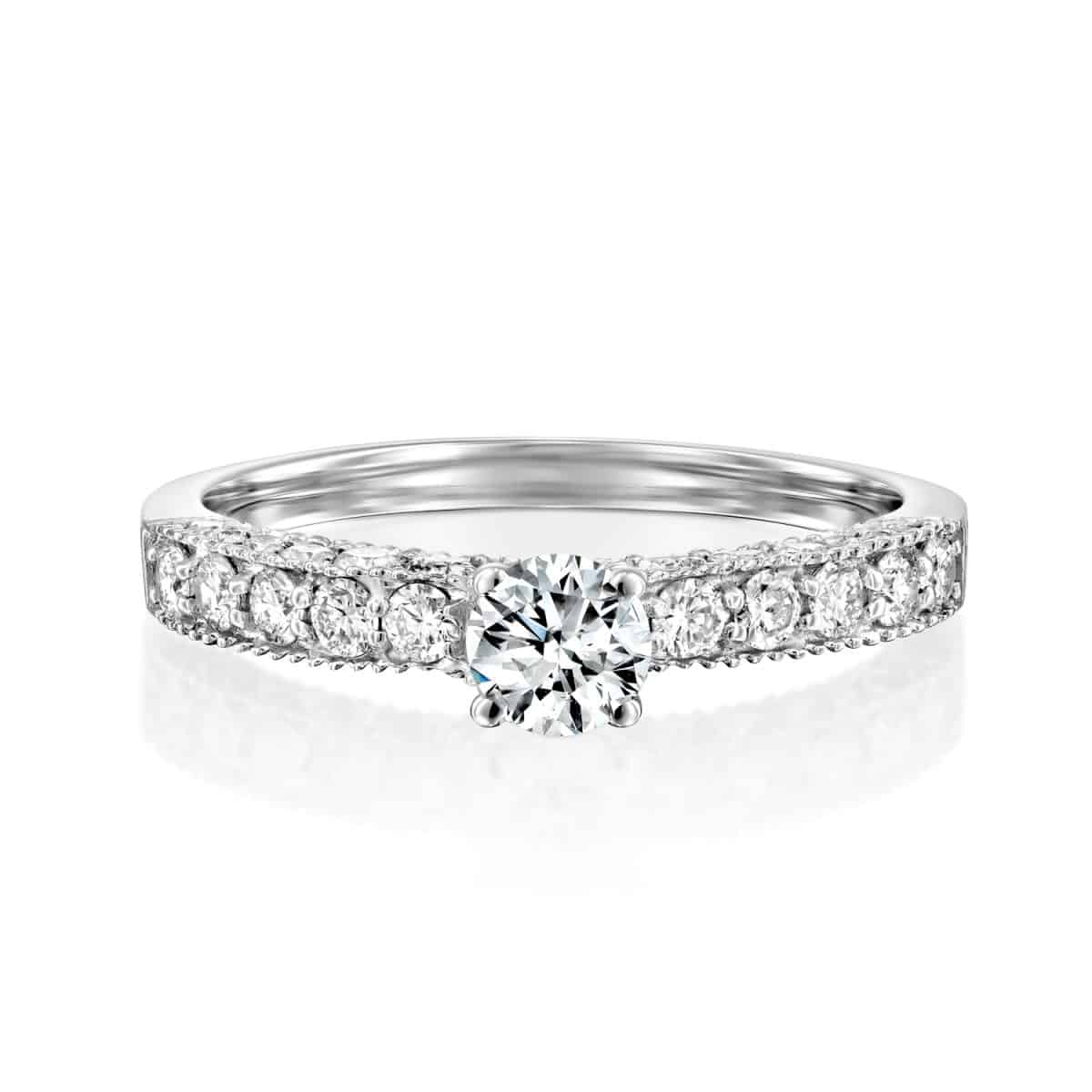 """Vintage"" - White Gold Lab Grown Diamond Ring 0.80ct. - laying"