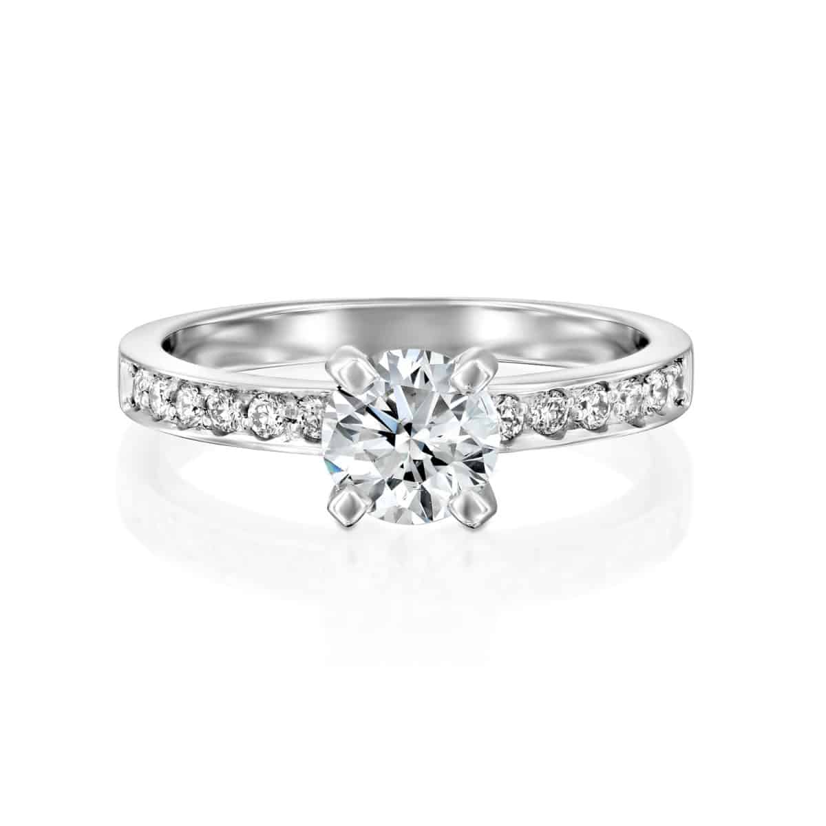 """Lena"" - White Gold Lab Grown Diamond Ring 1.01ct. - laying"