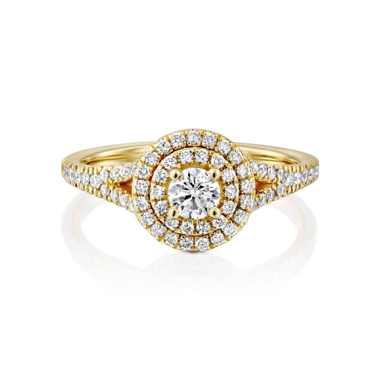 Halo - Yellow Gold Lab Grown Diamond Engagement Ring 0.75ct. - laying