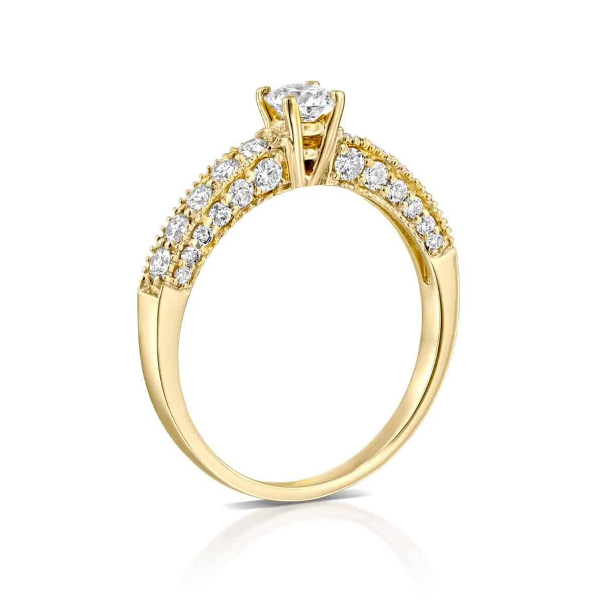Vintage - Yellow Gold Lab Grown Diamond Engagement Ring 0.90ct. - standing